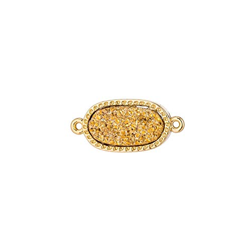 Design Ideas Wholesale Gold Oval Tiny Gold Plated Druzy Crystal Connector Double Bails Gemstone Charm Bead Bracelet Necklace DIY Jewelry Making ()