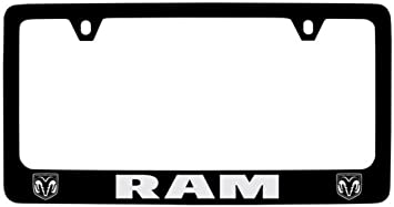 DODGE RAM 2500 Chrome Plated Brass License Plate Frame with Black Caps AUTHENTIC