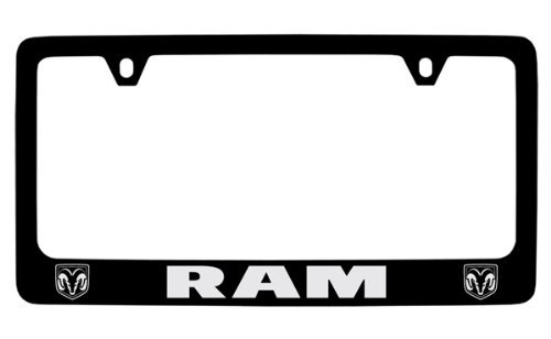 Dodge Ram Black Coated Metal License Plate Frame (Rams Brass)