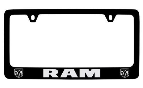 Dodge Ram Black Coated Metal License Plate Frame Holder