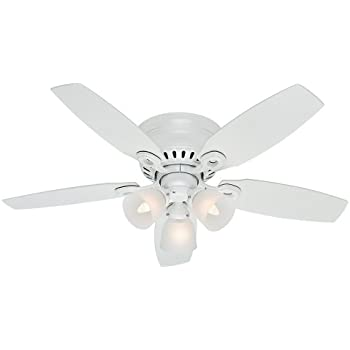Hunter 53326 52 builder low profile ceiling fan with light snow hunter fan company 52087 hatherton 46 inch snow white ceiling fan with five snow white mozeypictures Image collections