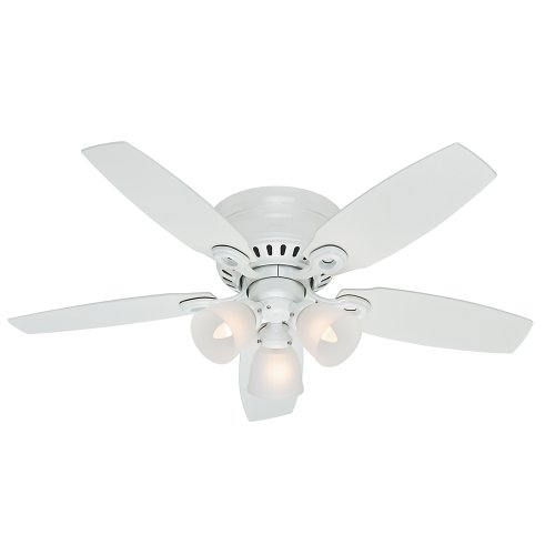 Hunter Indoor Low Profile Ceiling Fan, with pull chain control - Hatherton 46 inch, White, 52087