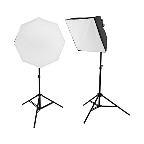 Westcott uLite Two Light Kit, Includes uLite Collapsible Softbox, uLite Collapsible Octabox, 2x Daylight LED Bulb with Tungsten Cover, 2x 6.5' Light Stand (Westcott Light Stands)