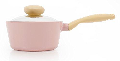 Neoflam Retro 1.5QT Ceramic Nonstick Saucepan w/ Glass Lid , Pink