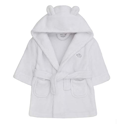 (Baby Boys & Girls Unisex Dressing Gown (Ages 6-24 Months) Soft Plush Flannel Fleece Hooded Bath Robe White)