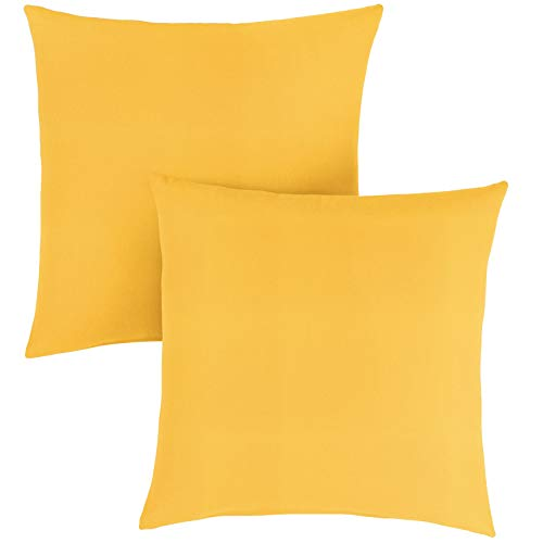 (1101Design Sunbrella Sunflower Yellow Knife Edge Decorative Indoor/Outdoor Square Throw Pillow, Perfect for Patio Decor - Sunflower Yellow 22