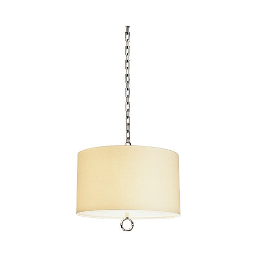 (Robert Abbey S653 Pendants with Off White Linen and Rolled Edge Hem Shades, Polished Nickel Finish )