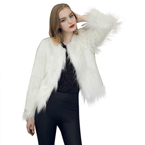 Chic Cappotto Monocromo Alta Outerwear Fashion Lunga Invernali Addensare Sintetica Caldo Eleganti Giacca Donna Rotondo Bianca Cute Collo Autunno Pelliccia Manica Di Vita Giaccone dWw8Z