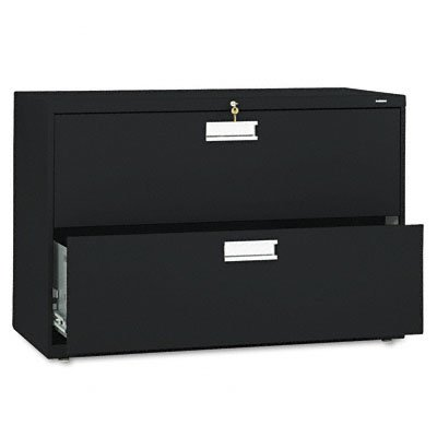 HON 2-Drawer Filing Cabinet - 600 Series Lateral or Legal File Cabinet, 42w by 19-1/4d, Black (H692) by HON