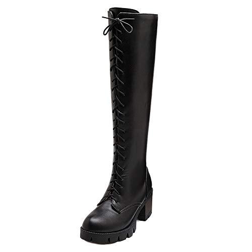 Taoffen Noir Genou Plateforme Hautes Bottes Haut Zipper Femmes Talon B8HwrTB
