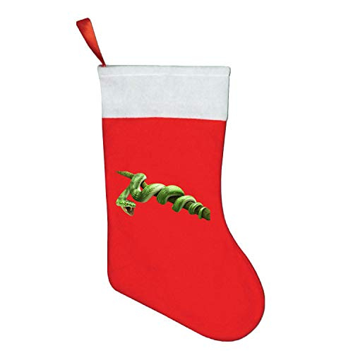 (Christmas Snowy Stocking for Holiday Party Decorations Gift-One Piece Green Snake)