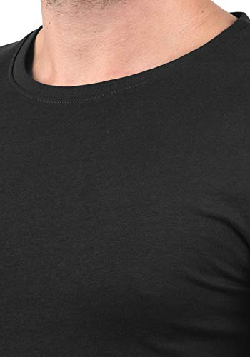Black 100 Basal solid Avec À 9000 Basique Pour shirt Rond T Coton Manches Longues Multipack Homme Encolure qOwTZqx