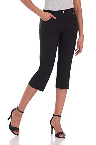 Rekucci Women's Iconic Comfort Stretch 5 Pocket Easy Fit Capri w/Zipper Closure (18,Black) ()
