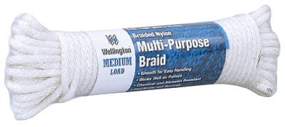 Wellington Cordage 10115 1/4-Inch x 50-Ft. Silvery White Solid Braided Nylon Cord - Quantity 12
