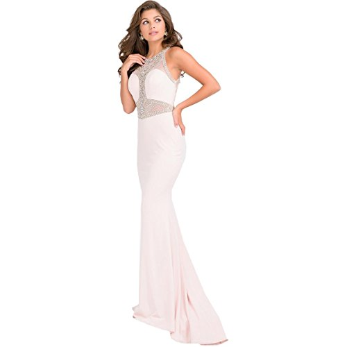 JVN by Jovani Womens Rhinestone Illusion Formal Dress Pink 0 - Evening Dresses By Jovani