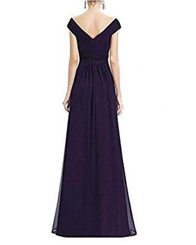 Long V Chiffon Gown Party Blue Wedding Beauty Bridesmaid Dresses Neck AK Black Sleeveless pIAEf