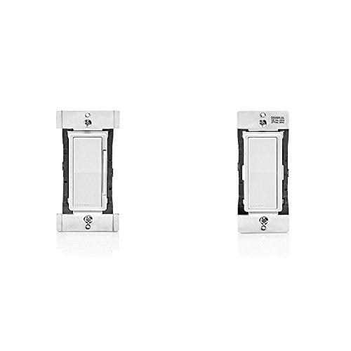 Leviton DDF01-BLZ Decora Digital 1.5 Amp Quiet Fan Speed Control & Timer with Bluetooth Technology, White/Ivory/Light Almond and Leviton DD0SR-DLZ Dual Voltage 120/277VAC Decora Digital/Decora Smart Matching Switch Remote -