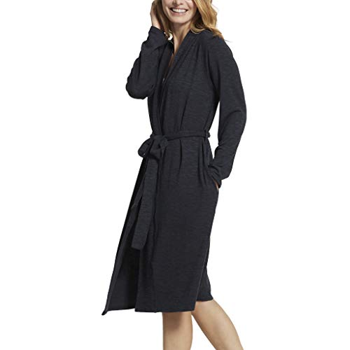 Yummie Women's Slub Knit Midi Lounge Robe, Black, S