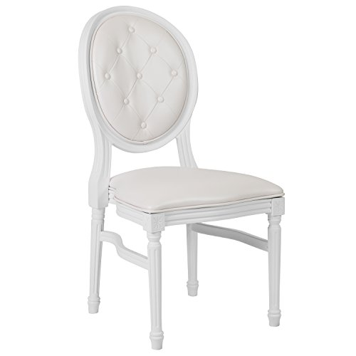 Flash Furniture HERCULES Series 900 lb. Capacity King Louis Chair with Tufted Back, White Vinyl Seat and White Frame (Tufted Back Vinyl)