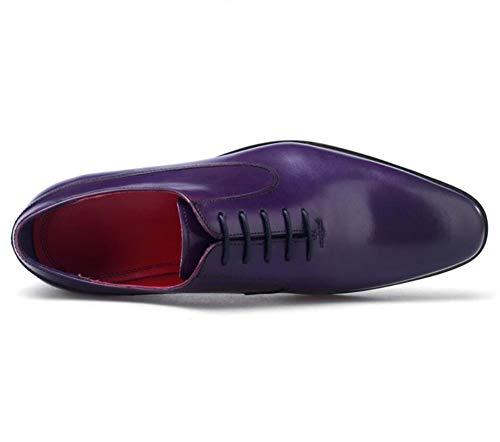 Formale Lavoro Uomo 44 Scarpe Nozze Purple Up Lace 38 Taglia Porpora Affari Vestito Oxfords Pelle Festa qRIwR0H