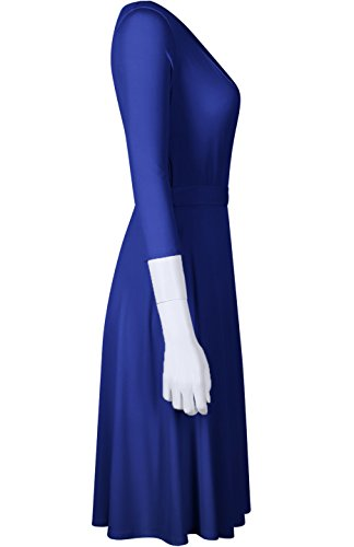 4 Dress Knee V Blue1 Wrap Neck Royal BodiLove Women's Sleeve Length Solid 3 EwUqUv