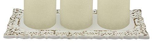 White Pillar Plate (Stonebriar SB-5162B Distressed White Fleur De Lis Ceramic Rectangle Candle Plate)