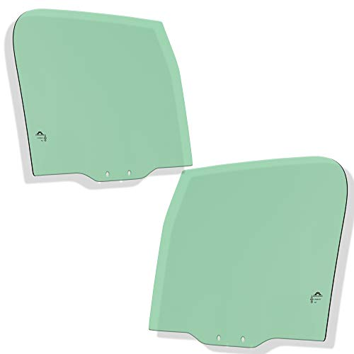 Make Auto Parts Manufacturing Set of 2 DOT Certified Front Left/Driver & Right/Passenger Side Tempered Green Tinted Door Glass For Jeep CJ5 / CJ7 / Scrambler/Wrangler 1976-1995 - DD05444, DD05443