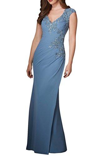 Blau mit Spitze Hell Ballkleider Traube Chiffon Aermellos Damen Etuikleider Charmant Partykleider Abendkleider APSqwHw