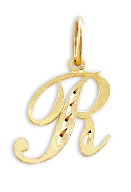 Amazon cursive r letter 14k yellow gold initial pendant solid cursive r letter 14k yellow gold initial pendant solid aloadofball Image collections