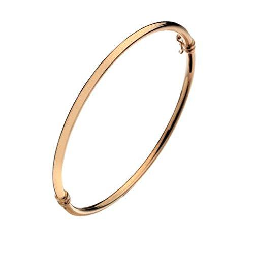 Or 9ct Uni Rouge/rose creux bracelet à charnière