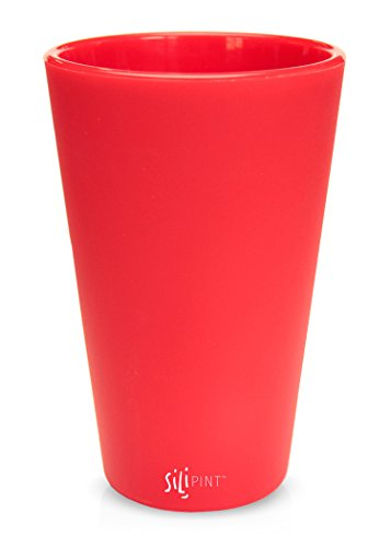(Silipint Silicone Pint Glass Set, Patented, BPA-Free, Shatter-proof Silicone Cup Drinkware (Single Ricochet Red))