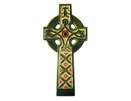 Celtic Cross Hand Painted Ceramic Wall Decor Irish ()