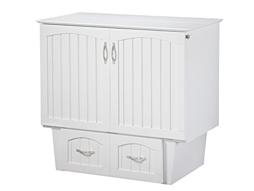 Atlantic Furniture AC592142 Nantucket Murphy Bed Chest with Charging Station & Mattress Twin White