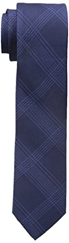 Calvin Klein Men's Intersect Grid Tie, Navy, One Size