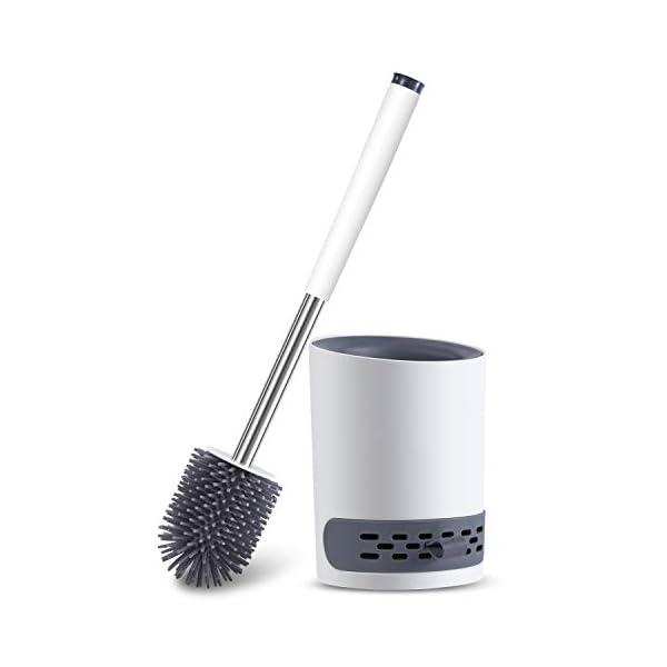 31ypD7wAb L Toilettenbürste, WC Bürste Silikon und Behälter, WC-Bürste mit Schnell Trocknendem Haltersatz für Badezimmer Gäste-WC…