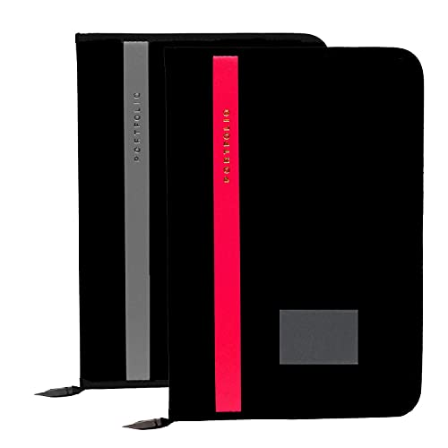 CSN-CUTE SHOPPING NETWORK, Faux Leather, Multipurpose, Professional, File Folder, for Certificates, Documents, Holder, with 20 Leafs Set of 2 (Size-A4, Color:Black) Set of 2