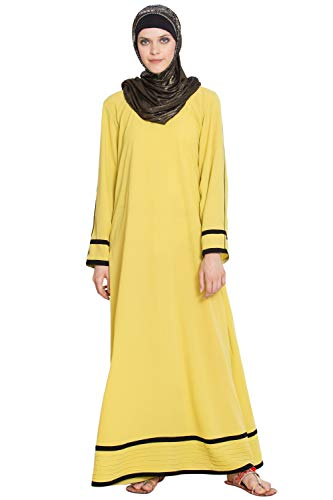Simple A Line Abaya with dual color yellow and black for girls, ladies, women, Burkha(FNF0002)