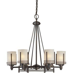 Forte Lighting 2389-06-32 6-Light Transitional Chandelier, Antique Bronze Finish with Umber Linen Glass
