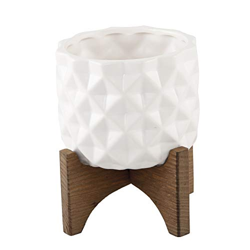 Dimple Pattern - Flora Bunda Mid Century 5 inch Ceramic DIMPLE Pattern on Wood Stand,Matte White