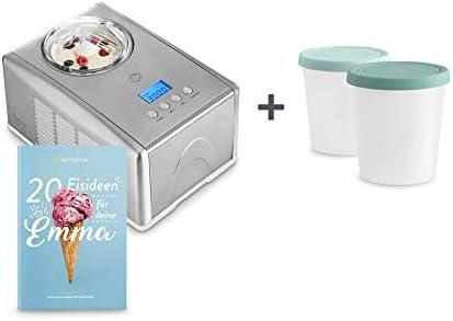 1.5L Macchina per Gelato e Sorbetti in Acciaio inox con Spegnimento Automatico Cestello per Gelato Estraibile Ice Cream Maker Ricettario incl Gelatiera EMMA con Compressore Autorefrigerante 150W