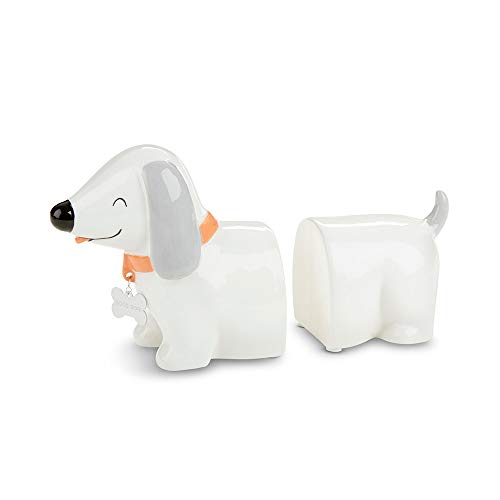 Baby Aspen Puppy Dog Dachshund Porcelain Nursery Bookends, White/Grey/red