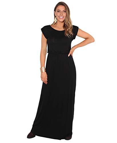 KRISP 3269-BLK-18: Turn Up Sleeve Maxi Dress (Black (Short Sleeve))