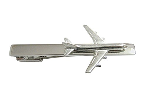 Smooth Large Commercial Jet Plane Square Tie Clip by Kiola Designs