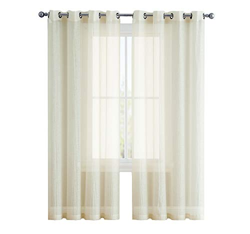 ASATEX Crushed Grommet Semi-Sheer Window Curtains Set of Two (2) - 84 Inch Long - Total Width 108 Inch (54 Inch Wide Each Panel, Beige)