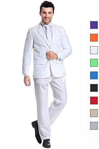 U LOOK UGLY TODAY Men's Party Suit Pure White Solid Color Bachelor Party Suit for Adult and Mens-Large