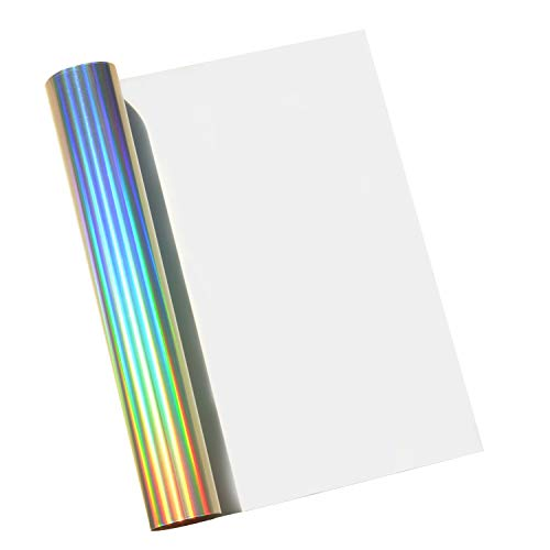 Holographic Iron on Heat Transfer Vinyl HTV Roll for Tshirt Fabric 12x40 Specturm Silver