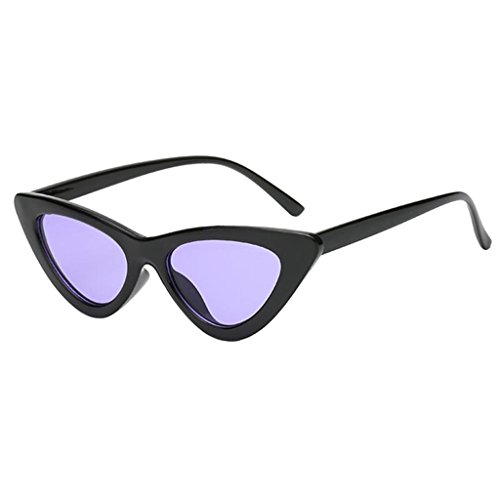 unique Taille Yeux Violet Femme Chat Lunettes Triangle 400 De noir Vintage Soleil Miroir Gazechimp UV qBwS6wO
