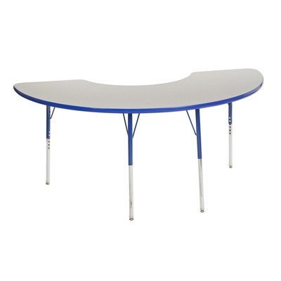 ECR4KIDS ELR14120P6X12-GNVTB Half Moon Activity Table with 6 12 Stack Chairs Toddler Legs 72 H 30 W 36 L Grey Navy Trim Navy Leg Color Ball Glides Foot Type [並行輸入品] B07N8CBLLN