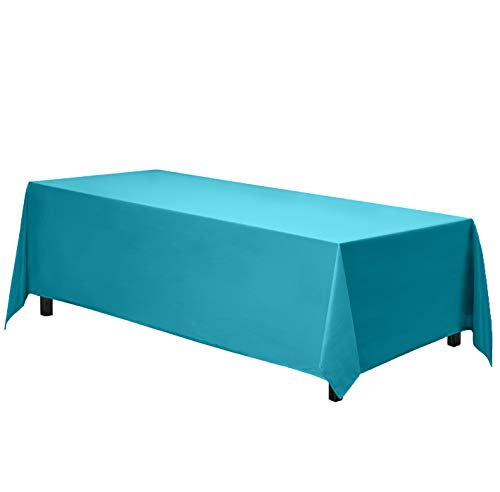 Gee Di Moda Rectangle Tablecloth - 90 x 156 Inch - Caribbean Rectangular Table Cloth for 8 Foot Table in Washable Polyester - Great for Buffet Table, Parties, Holiday Dinner, Wedding & More (Teal Table Cloth Linen)