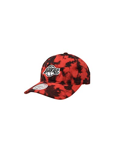 Mitchell & Ness Los Angeles Lakers Adjustable Snapback Hat NBA Basketball Straight Brim Baseball Cap (One Size, Red Acid Wash Dad)